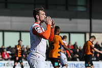 Jack Marriott of Luton Town looks dejected after relaising his effort is ruled out for off-side during the Sky Bet League 2 match between Barnet and Luton Town at The Hive, London, England on 28 March 2016. Photo by David Horn.