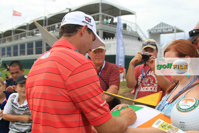 Padraig Harrington (IRL) signs autographs for fans at the 18th green during Tuesday's practice day of the 2012 PGA Golf Championship at The Ocean Course, Kiawah Island, South Carolina, USA 7th August 2012 (Photo Eoin Clarke/www.golffile.ie)