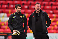Notts County's strength and conditioning coach Mike Edwards with Notts County manager Kevin Nolan during the pre-match warm-up<br /> <br /> Photographer Andrew Vaughan/CameraSport<br /> <br /> The EFL Sky Bet League Two - Lincoln City v Notts County - Saturday 13th January 2018 - Sincil Bank - Lincoln<br /> <br /> World Copyright &copy; 2018 CameraSport. All rights reserved. 43 Linden Ave. Countesthorpe. Leicester. England. LE8 5PG - Tel: +44 (0) 116 277 4147 - admin@camerasport.com - www.camerasport.com