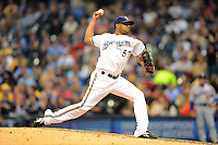 Milwaukee Brewers pitcher Francisco Rodriguez #57 during a game against the Los Angeles Dodgers at Miller Park on May 22, 2013 in Milwaukee, Wisconsin.  Los Angeles defeated Milwaukee 9-2.  (Mike Janes/Four Seam Images)
