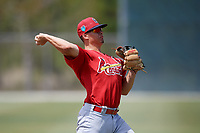 St. Louis Cardinals Evan Mendoza (12) during a Minor League Spring Training game against the Miami Marlins on March 26, 2018 at the Roger Dean Stadium Complex in Jupiter, Florida.  (Mike Janes/Four Seam Images)