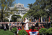 Pope Benedict XVI (L) speaks as U.S. President George W. Bush (R) listens on the South Lawn at the White House in Washington, D.C. USA on 16 April 2008. Today is the second day of the pope's visit to the United States.  Today is also  the 81st birthday of the pope.
