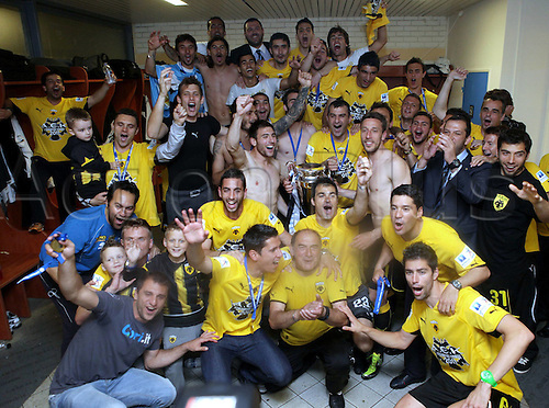 30.04.2011. Greek Super League Finals, Athens, Greece.  Atromit Athens verus  AEK Athens finshed 0- 3 in favor of AEK Athens.  The Players from AEK Athens celebrate After the Award Ceremony in the Dressing room
