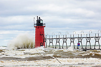 64795-02209 South Haven Lighthouse with high waves crashing South Haven,  MI
