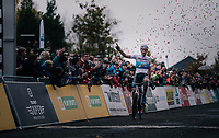 European CX Champion Mathieu van der Poel (NED/Corendon-Circus) winning the race<br /> <br /> Men's race<br /> Superprestige Asper-Gavere 2018 (BEL)