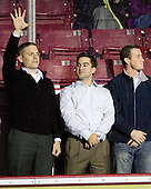 Kenny Ryan, Justin Murphy, Matt Greene - The Boston College Eagles defeated the visiting Merrimack College Warriors 3-2 on Friday, October 29, 2010, at Conte Forum in Chestnut Hill, Massachusetts.