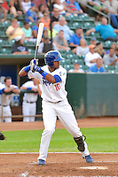 Yensys Capellan (10) of the Ogden Raptors at bat against the Idaho Falls Chukars in Pioneer League action at Lindquist Field on July 26, 2014 in Ogden, Utah.  (Stephen Smith/Four Seam Images)