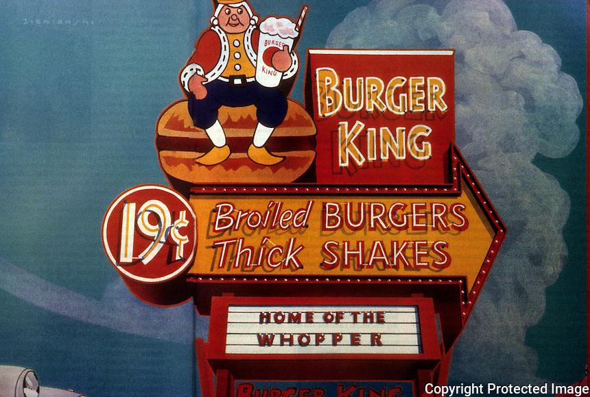 "Strip Architecture:  1950's Burger King sign by Dennis Ziemienski.  Illustration ""Burgers! Shakes!""  Phil. Langdon, ATLANTIC  Dec. '85."