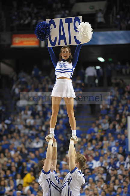 Kentucky cheerleaders during a timeout during the UK mens basketball Dillard exhibition game. Photo by Mike Weaver | Staff