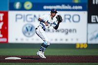 Everett AquaSox second baseman Cesar Izturis Jr. (40) covers the base during a Northwest League game against the Tri-City Dust Devils at Everett Memorial Stadium on September 3, 2018 in Everett, Washington. The Everett AquaSox defeated the Tri-City Dust Devils by a score of 8-3. (Zachary Lucy/Four Seam Images)