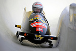15 December 2007: Switzerland 3 pilot Martin Galliker with brakeman Juerg Egger exit a turn during their first run at the FIBT World Cup Bobsled Competition at the Olympic Sports Complex on Mount Van Hoevenberg, at Lake Placid, New York, USA. ..Mandatory Photo Credit: Ed Wolfstein Photo