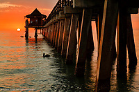 Naples Pier at sunset and Gulf of Mexico, Naples, Florida