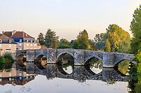 France, Vienne, Saint Savin sur Gartempe, the old bridge dated 13th century over Gartempe river // France, Vienne (86), Saint-Savin-sur-Gartempe, le vieux pont du XIIIe siècle au-dessus de la Gartempe