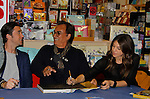 """Cast of Days Of Our Lives - Billy Flynn, Thaao Penghlis """"Andre DiMera"""",  Kate Mansi """"Abigail Devereaux"""" sign book """"Days Of Our Lives 50 Years"""" by Greg Meng - author & co-executive producer on October 27, 2015 at Books & Greetings, Northvale, New Jersey. (Photo by Sue Coflin/Max Photos)"""
