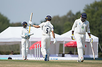 Joe Weatherley acknowledges his team mates on reaching his half century during Middlesex CCC vs Hampshire CCC, Bob Willis Trophy Cricket at Radlett Cricket Club on 11th August 2020