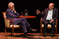 FORT LAUDERDALE FL - JUNE 12: Former U.S. President Bill Clinton and James Paterson speak during 'The President is Missing' book tour at The Broward Center on June 12, 2018 in Fort Lauderdale, Florida. Credit: mpi0/MediaPunch<br /> CAP/MPI04<br /> &copy;MPI04/Capital Pictures