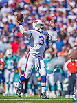 14 September 2014: Buffalo Bills quarterback EJ Manuel passes for a touchdown in the third quarter against the Miami Dolphins at Ralph Wilson Stadium at Ralph Wilson Stadium in Orchard Park, NY. The Bills defeated the Dolphins 29-10 to win their home opener and start the season with a 2-0 record. Mandatory Credit: Ed Wolfstein Photo *** RAW (NEF) Image File Available ***