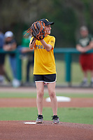 Young fan throws out a ceremonial first pitch before a USF Bulls game against the Dartmouth Big Green on March 17, 2019 at USF Baseball Stadium in Tampa, Florida.  USF defeated Dartmouth 4-1.  (Mike Janes/Four Seam Images)