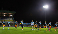 The Wycombe players warm up during the Sky Bet League 2 rearranged match between Bristol Rovers and Wycombe Wanderers at the Memorial Stadium, Bristol, England on 1 December 2015. Photo by Andy Rowland.