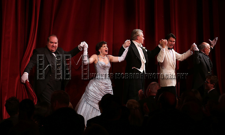 Blake Hammond, Anna Chlumsky, Douglas Sills, Jerry O'Connell and Scott Robertson during the Broadway Opening Night Performance Curtain Call for 'Living on Love' at The Longacre Theatre on April 20, 2015 in New York City.