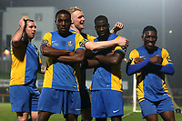 Carlos Djalo Oso of Romford (2nd R) scores the second goal for his team and celebrates during Romford vs Norwich United, Bostik League Division 1 North Football at Ship Lane on 11th April 2018