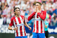 Atletico de Madrid's player Fernando Torres and Filipe Luis celebrating a goal during a match of La Liga Santander at Vicente Calderon Stadium in Madrid. September 17, Spain. 2016. (ALTERPHOTOS/BorjaB.Hojas)<br /> Liga Spagna 2016/2017 <br /> Foto Insidefoto