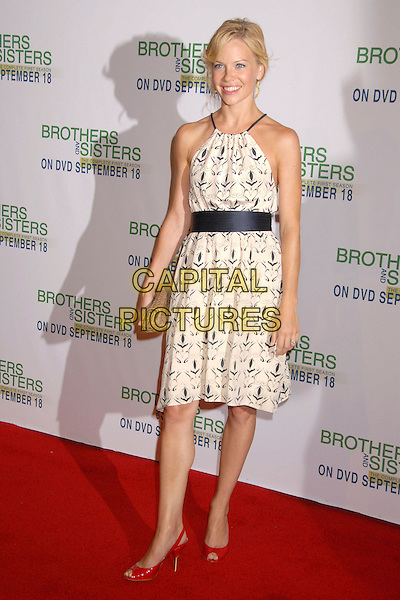 "SARAH JANE MORRIS.""Brothers and Sisters"" Season One DVD Release Party at San Antonio Winery, Los Angeles, California, USA..September 10th, 2007.full length white cream black dress pattern belt sash red sling back shoes.CAP/ADM/BP.©Byron Purvis/AdMedia/Capital Pictures."
