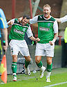 HIBERNIAN'S IVAN SPROULE IS CONGRATULATED BY GARRY O'CONNOR AFTER HE SCORES HIBS FIRST