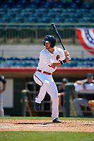 Florida Fire Frogs Brett Langhorne (23) at bat during a Florida State League game against the Jupiter Hammerheads on April 11, 2019 at Osceola County Stadium in Kissimmee, Florida.  Jupiter defeated Florida 2-0.  (Mike Janes/Four Seam Images)