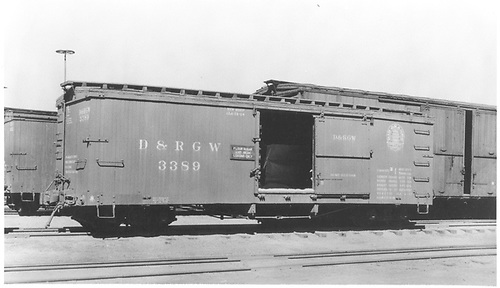 Box car #3389 with standard gauge double door wooden box car.<br /> D&amp;RGW    Taken by Best, Gerald M. - ca 1937
