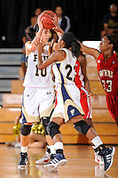 28 January 2012:  FIU guard Fanni Hutlassa (10) pulls down a rebound in the first half as the FIU Golden Panthers defeated the Western Kentucky University Hilltoppers, 60-56, at the U.S. Century Bank Arena in Miami, Florida.