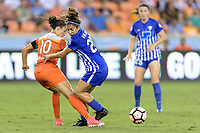 Houston, TX - Wednesday June 28, 2017: Carli Lloyd and Angela Salem battle over a loose ball during a regular season National Women's Soccer League (NWSL) match between the Houston Dash and the Boston Breakers at BBVA Compass Stadium.