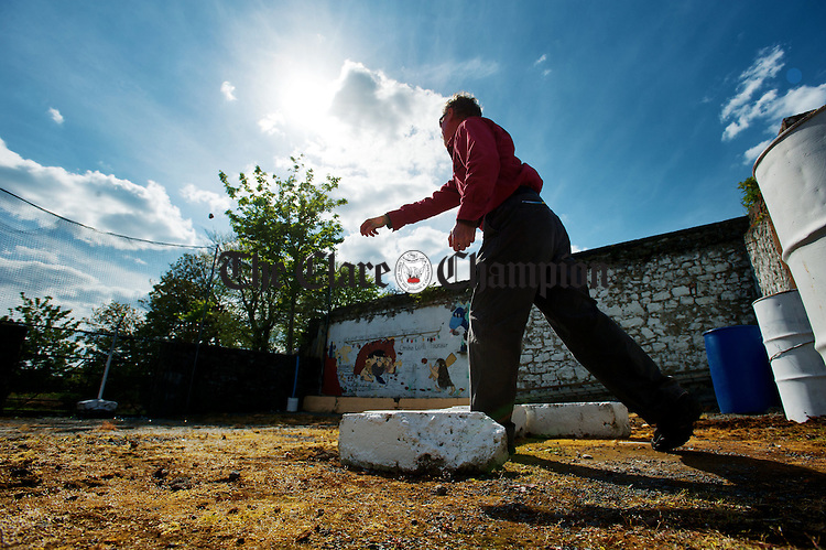 Competing at the World Stone Throwing Championships in Corofin. Photograph by John Kelly.