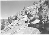 D&amp;RGW San Juan descending Cumbres.<br /> D&amp;RGW  near Hamilton Point?, CO  Pre 1951