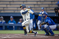 Michigan Wolverines shortstop Jack Blomgren (2) follows through on his swing against the Indiana State Sycamores on April 10, 2019 in the NCAA baseball game at Ray Fisher Stadium in Ann Arbor, Michigan. Michigan defeated Indiana State 6-4. (Andrew Woolley/Four Seam Images)
