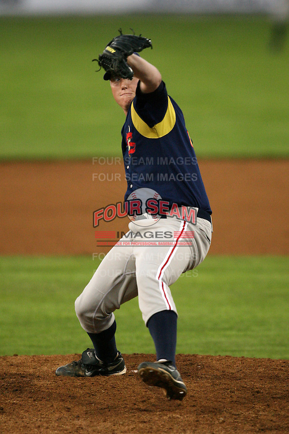September 1, 2009:  Pitcher Jason Erickson of the State College Spikes during a game at Frontier Field in Rochester, NY.  State College is the NY-Penn League affiliate of the Pittsburgh Pirates.  Photo By Mike Janes/Four Seam Images