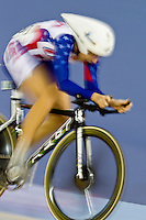 19 FEB 2012 - LONDON, GBR - The USA's Sarah Hammer (USA) races for the finish line and overall victory during the Women's Omnium Time Trial at the UCI Track Cycling World Cup, and London Prepares test event for the 2012 Olympic Games, in the Olympic Park Velodrome in Stratford, London, Great Britain .(PHOTO (C) 2012 NIGEL FARROW)