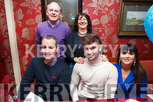 Dillion O&rsquo;Sullivan celebrates his 18th birthday with family in Cassidys Restaurant, Tralee on Sat night. <br /> Seated front,  Kevin O Sullivan and birthday boy Dillion and mom Nicola. Back L-R Esther and Jimmy O&rsquo;Sullivan.