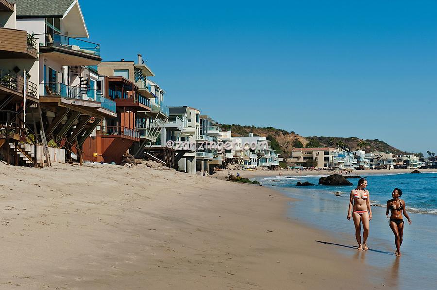 Malibu Road, Ca, Colorful, Luxury, Oceanfront, Beach, Houses, Raised, Stilts, Pilings, low tide, Los Angeles, CA High dynamic range imaging (HDRI or HDR)