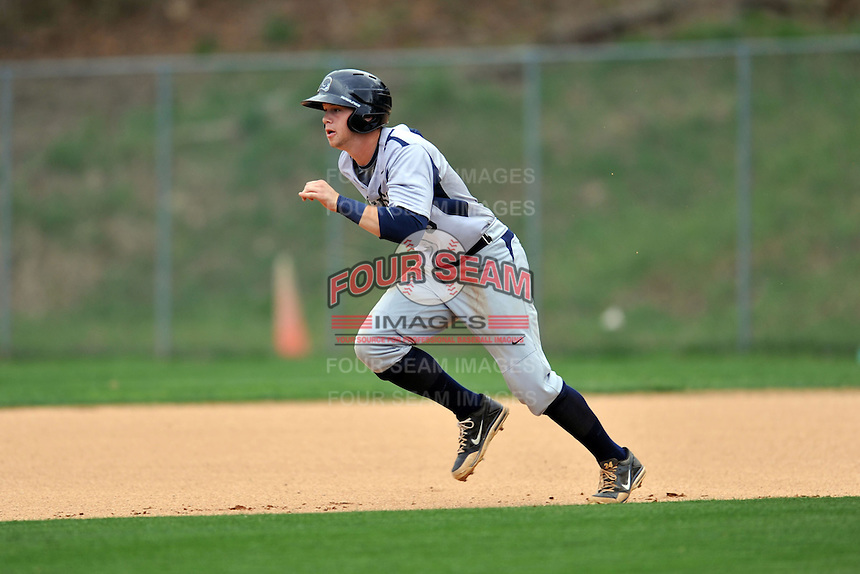 T.C. Roberson Rams left fielder Braxton Davidson #6 runs to second during a game against the Asheville Cougars  at Asheville High on April 15, 2013 in Asheville, North Carolina. The Rams won 4-1. (Tony Farlow/Four Seam Images).