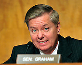 """United States Senator Lindsey Graham (Republican of South Carolina) questions a witness during the U.S. Senate Committee on Homeland Security and Governmental Affairs hearing on """"Terrorists and Guns: The Nature of the Threat and Proposed Reforms"""" in Washington, D.C. on Wednesday, May 5, 2010..Credit: Ron Sachs / CNP.(RESTRICTION: NO New York or New Jersey Newspapers or newspapers within a 75 mile radius of New York City)"""