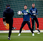 Joel Castro Pereira of Manchester United warms up with David de Gea during the Manchester United open training session at the Carrington Training Centre, Manchester. Picture date: May 19th 2017. <br /> Pic credit should read: Matt McNulty/Sportimage