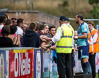Wycombe Wanderers fans are upset after the loss to Colchester United and vent their frustration with Paul Hayes of Wycombe Wanderers after the Sky Bet League 2 match between Wycombe Wanderers and Colchester United at Adams Park, High Wycombe, England on 27 August 2016. Photo by Liam McAvoy.