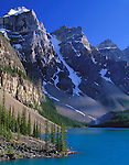 Banff National Park, Canada:  Moraine Lake under the towering Wenkchenma Peaks - the Valley of Ten Peaks