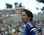 Maren Meinert gets ready to take a corner kick at Nickerson Field in Boston MA on 7/13/03 during a game between the Boston Breakers and Philadelphia Charge. The Breakers won 3-1.