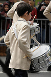 Greek Parade in New York City. A boy playing the drums in the Greek Parade in New York City.