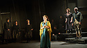 "London, UK. 08.03.2016. English Touring Opera presents the rarely performed ""Pia de' Tolomei"", by Gaetano Donizetti, in its UK stage premiere, at the Hackney Empire. Libretto by Salvadore Cammadano. Directed by James Conway, with set & costume design by Loren Elstein and lighting design by Guy Hoare. Picture shows: Elena Xanthoudakis (Pia), Susanna Fairbairn (Bice), Craig Smith (Lamberto). Photograph © Jane Hobson."