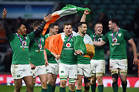 Jordi Murphy and his Ireland team-mates celebrate after the match. Natwest 6 Nations match between England and Ireland on March 17, 2018 at Twickenham Stadium in London, England. Photo by: Patrick Khachfe / Onside Images