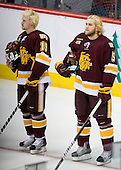 Max Tardy (Duluth - 19), Trent Palm (Duluth - 5) - The University of Minnesota-Duluth Bulldogs defeated the University of Michigan Wolverines 3-2 (OT) to win the 2011 D1 National Championship on Saturday, April 9, 2011, at the Xcel Energy Center in St. Paul, Minnesota.