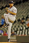 8 September 2006: Beltran Perez, pitcher for the Washington Nationals, on the mound against the Colorado Rockies. The Rockies defeated the Nationals 10-5 in a rain-delayed game at Coors Field in Denver, Colorado. ..Mandatory Photo Credit: Ed Wolfstein..